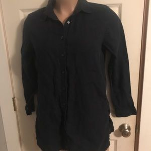 AMANDA SMITH Navy Blue Linen Button Down Shirt
